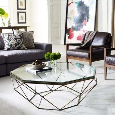 US $19.19 19% OFF Nordic Iron size apartment living room coffee table  glass round table, octagonal transparent Coffee Tables Furniture -  AliExpress   living room glass table