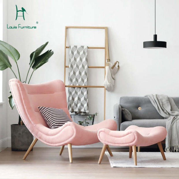 US $19.19 |Louis Fashion Single Sofa Nordic Style Living Room Furniture  Pink Small Snail Chair Modern Simple Cloth Art Tiger Chair.|Living Room .. | living room chairs