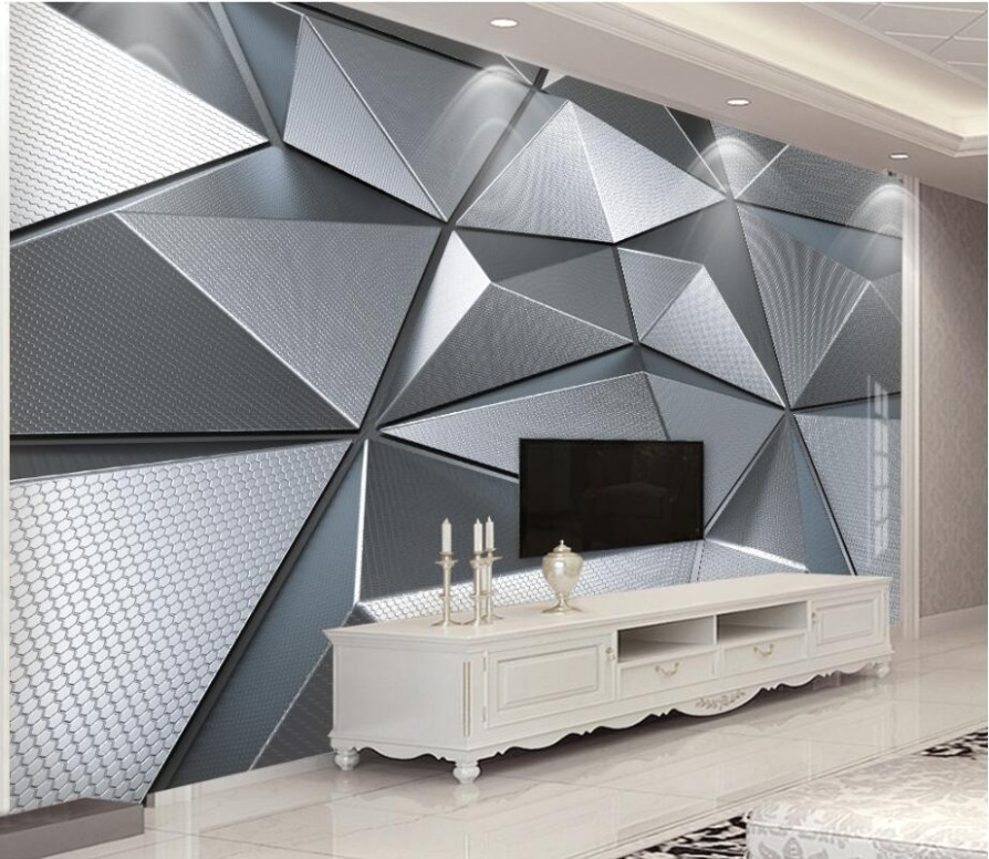 US $221.21 21% OFF|beibehang Wallpaper custom living room bedroom Wallpaper  mural 21D geometric atmosphere atmospheric metal background .. | living room wallpaper