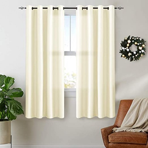 Vangao Beige Curtains 15 inches Long Faux Silk Opaque Curtain Light  Filtering Living Room Satin Drapes Privacy Window Treatments Set for  Bedroom, .. | living room curtains 63 inches long