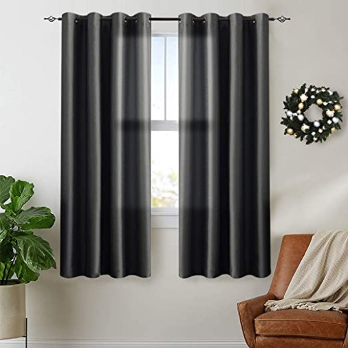 Vangao Black Curtains 15 inches Long Faux Silk Opaque Curtain Light  Filtering Living Room Satin Drapes Privacy Window Treatments Set for  Bedroom, .. | living room curtains 63 inches long