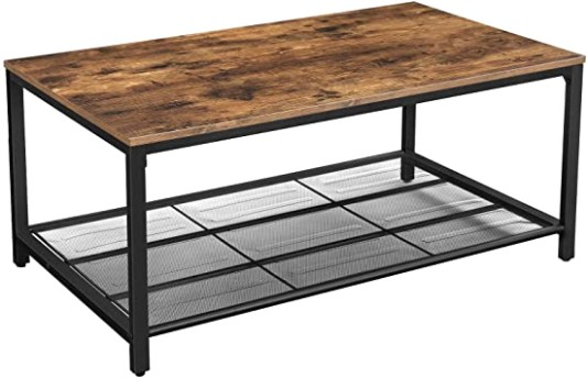 VASAGLE INDESTIC Coffee Table, Living Room Table with Dense Mesh Shelf,  Large Storage Space, Cocktail Table, Easy Assembly, Stable, Industrial  Design, .. | living room table