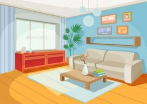 Vector Illustration of a Cartoon Interior | Interior designers in ... | living room cartoon