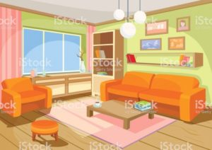 Vector Illustration Of A Cozy Cartoon Interior Of A Home Room A ... | living room cartoon