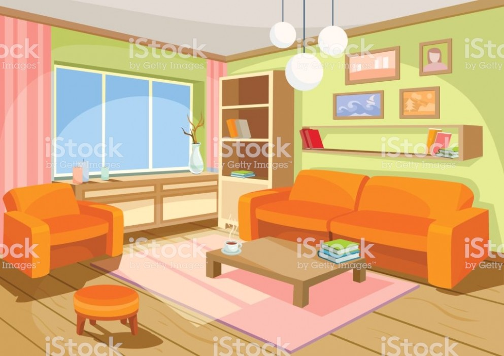 Vector Illustration Of A Cozy Cartoon Interior Of A Home Room A .. | living room cartoon