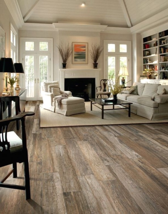 Very inviting white living room. So much good stuff--the built in ..   living room flooring