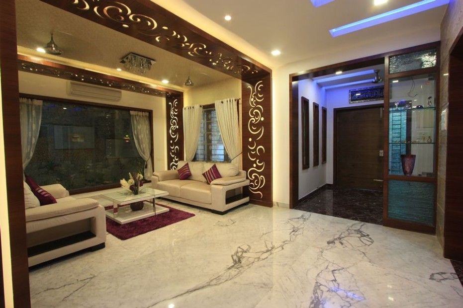 View of drawing room showing the entrance and the veranda with a .. | living room entrance design