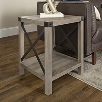 Walker Edison Furniture Company Rustic Modern Farmhouse Metal and Wood  Square Side Accent Living Room Small End Table, 16 Inch, Gray Wash - living room end tables | living room end tables