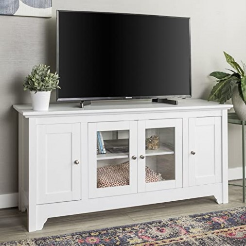 """Walker Edison Furniture Company Wood Universal Stand with Storage Cabinets  for TVs up to 18"""" Flat Screen Living Room Entertainment Center, White - living room entertainment center 