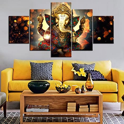 Wall Art for Living Room Deity Festival Artwork Paintings 16 Piece Ganesha  Hindu God Canvas Pictures Artwork Home Decor Modern Posters and Prints .. | living room paintings