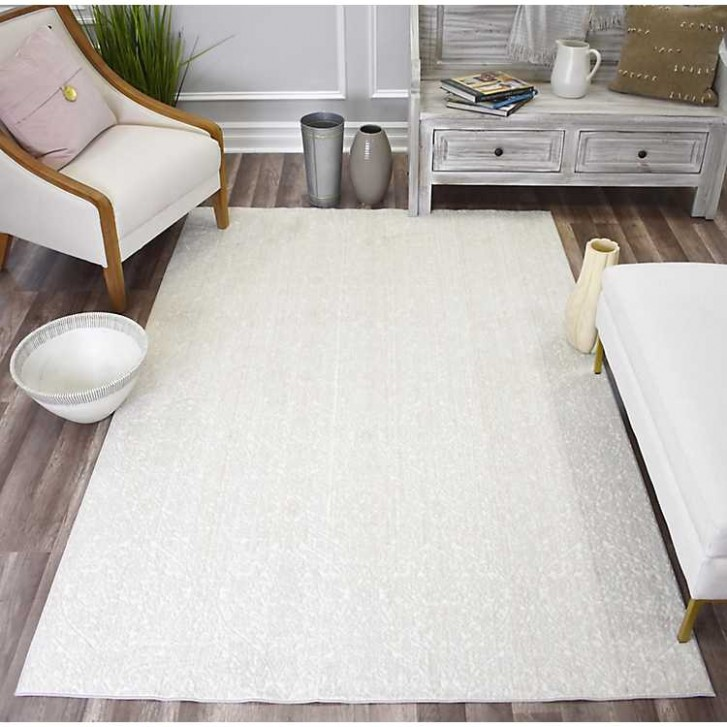 White Paloma Lace High-Low Area Rug, 21x21 - living room 8x10 rug | living room 8x10 rug