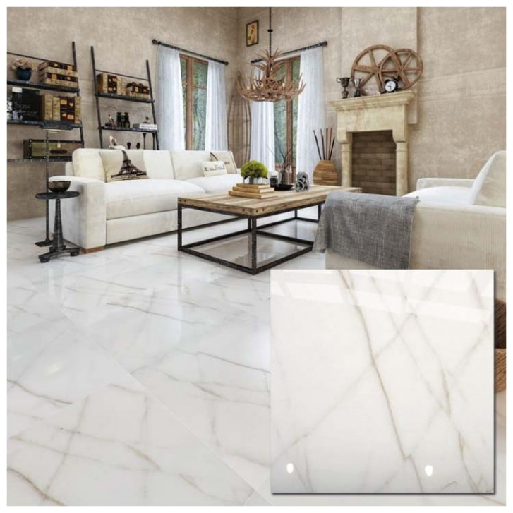 White Polished Ceramic Floor Tile - living room floor tiles | living room floor tiles