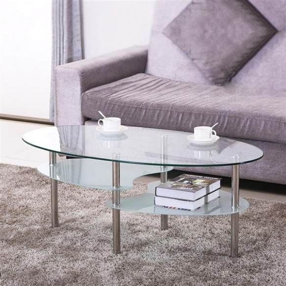 Yaheetech 19 Tier Modern Living Room Oval Glass Coffee Table Round Glass  Side Table End Tables All Clear with Chrome Finish Legs Cocktail Table - living room glass table   living room glass table