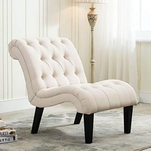 YongQiang Living Room Chairs Upholstered Tufted Bedroom Accent Chair Curved  Backrest Lounge Chair with Wood Legs Cream Fabric - living room chairs | living room chairs