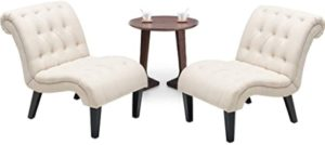 YongQiang Set of 21 Living Room Chairs Bedroom Accent Chair Upholstered  Tufted Curved Backrest Fabric Lounge Chair with Wood Legs Cream | living room 2 chairs