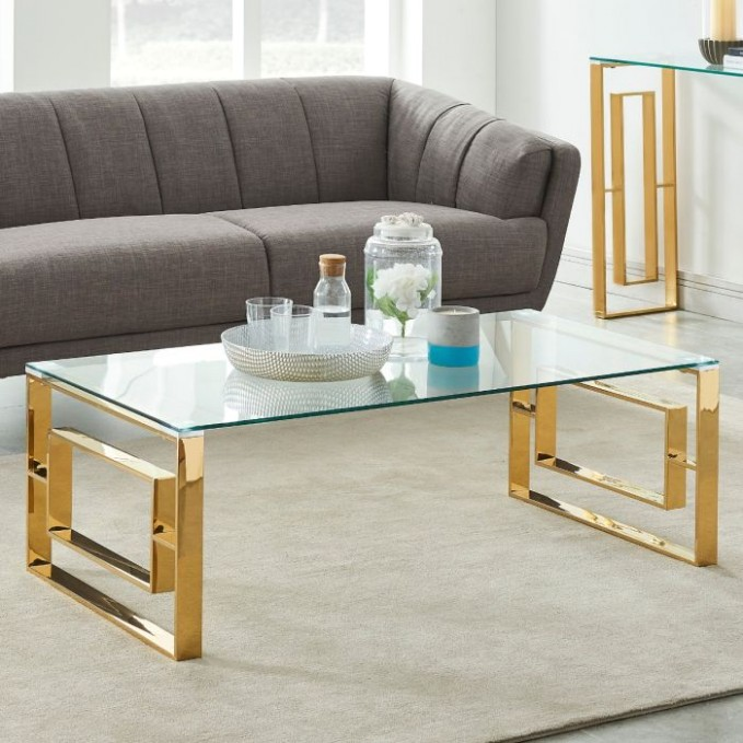 Yurokwid Clear Tempered Glass Living Room Coffee Table in Gold - living room glass table   living room glass table