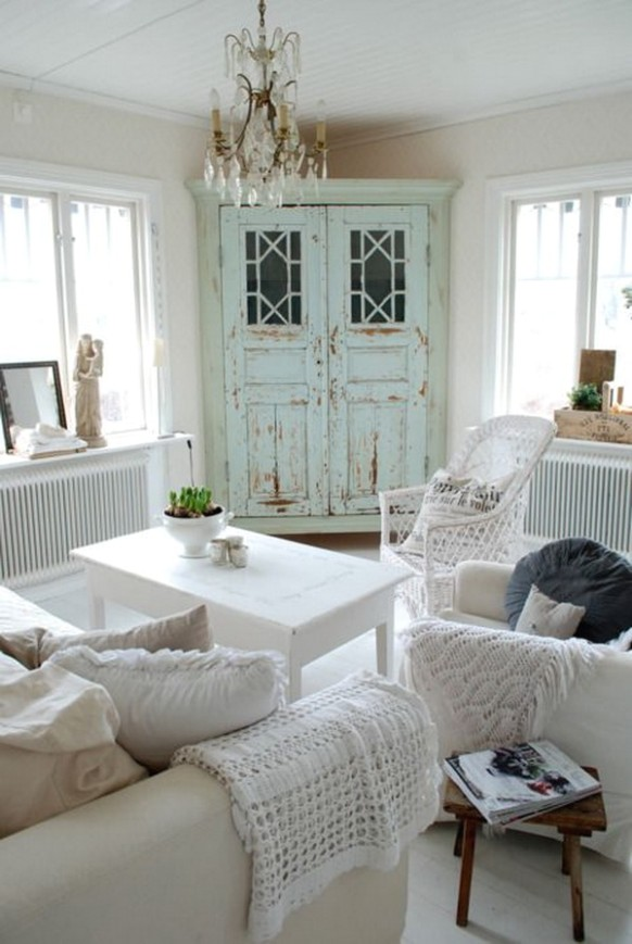 15+ Charming Shabby Chic Living Room Decoration Ideas - For .. | Chic Living Rooms