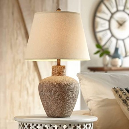 Bentley Rustic Table Lamp Hammered Metal Pot Brown Leaf Off White Empire Shade for Living Room Family Bedroom Bedside Office - 16 Lighting - living room lamps | living room lamps