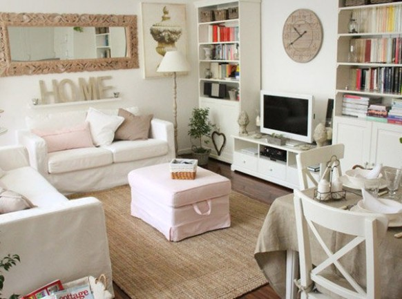 Distressed yet Pretty White Shabby Chic Living Rooms | Home Design .. | Chic Living Rooms