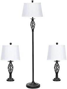 Tangkula Lamp Set 16-Piece Modern Home Living Room Bedroom Antique Bronze  Finish Lamps, Floor Lamp and Table Lamps Set with Soft Pleated White Fabric  ... | living room lamps