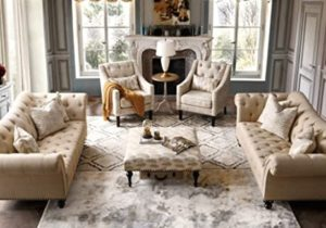 Acanva Luxury Chesterfield Vintage Living Room Family Sofa, Couch, Beige – living room sofa