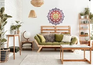 Amazon.com: Mandala Wood Decor, Red Yoga Studio Living Room Wall ..