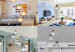 Art Glass Pendant Lamp with Bell/Cone/Dome/Trapezoid Shade Living Room 11  Lights Tiffany Style Hanging Light – living room hanging light