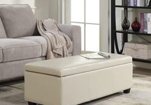 BELLEZE Modern Elegant Ottoman Storage Bench Living Bedroom Room Home Faux  Leather 15″ inch -Cream – living room ottoman