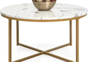 Best Choice Products 19in Faux Marble Modern Living Room Round Accent Side  Coffee Table w/Metal Frame, White/Bronze Gold – living room table