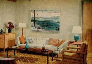 Blue + brown 20s living room: Warm + cool tones + George Bellows ..