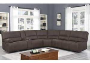Brower Fabric Power Reclining Sectional with Power Headrest – living room furniture