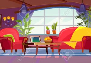 Cartoon living room interior view. Empty colorful room design.