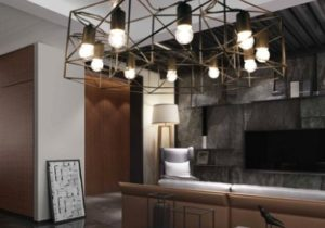 Contemporary Geometric Chandelier Light Iron 11-Light Large Hanging Lights  in Black for Living Room – living room hanging light