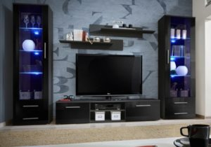 Details about Telia 19 – black living room furniture / entertainment center  cabinet / tv stand – living room tv