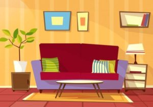 Download Cartoon Living Room Interior Background Template. Cozy ..