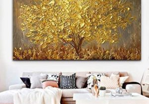 Faicai Art Thick Texture Gold Tree Paintings Canvas Wall Art Hand Oil  Canvas Paintings 16D Palette Knife Canvas Artwork Wall Decor for Living Room  ..
