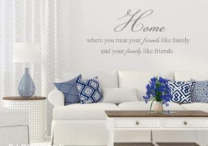Family Quote Wall Decal, Home Decor, Living Room Decals, Home Where You  Treat Your Friends Like Family And Your Family Like Friends – ID20 – living room quotes