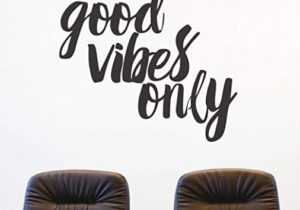 FlyWallD Wall Decals Quotes Living Room Bedroom Vinyl Wall Art Sayings  Stickers Office Decor Good Vibes Only – living room quotes