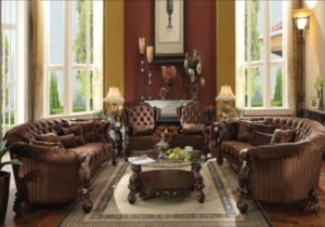 Formal Living Room Furniture 211 Sofa & 211 Chairs Set Cherry Finish Fabric  Tufted – living room 2 chairs