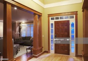 Front Doorway Entrance Hall And Living Room In House Dusk High-Res ..