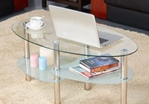 go19buy Oval Glass Coffee Table for Living Room Furniture Round Glass Top  Chrome Finish Metal Legs Clear – living room glass table