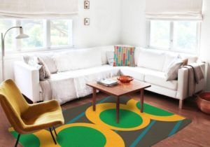 Green and yellow Rug – living room 5×8 rug