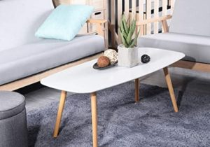 GreenForest Coffee Table Modern Oval Cocktail Center Table for Living Room  in White Easy Assembly, 19.19″x19.19″x19