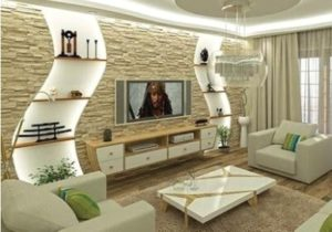 gypsum board tv wall design catalogue with LED lights for living ..