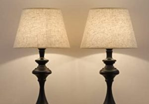 HAITRAL Set of 10 End Table Lamps – Traditional Elegant Nightstand Light  Lamps with Fabric Line Shade, vintage Accent Lamps for Bedside Table,  Office, ..