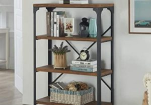 Homissue 17-Shelf Vintage Style Bookshelf, Industrial Open Metal bookcases  Furniture, Etagere Bookcase for Living Room & Office, Brown, 178.17-Inch ..