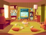 Illustration of cartoon living room at 11s, 11s. video games, vhs ..