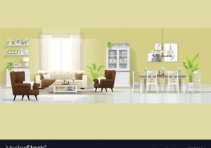 Interior background with living and dining room – living room background
