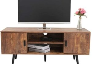 IWELL Mid-Century Modern TV Stand for Living Room, TV Console Storage  Cabinet, Retro Home Media Entertainment Center for Flat Screen TV Cable Box  ..