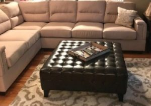 Large Bonded Faux Leather Ottoman Coffee Table Tufted Square Brown Living  Room – living room ottoman